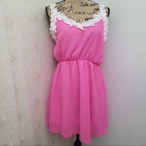 Dresses & Skirts - Pink dress with lace embellishments